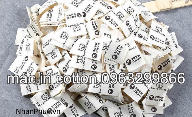 Mẫu tem nhãn mác vải cotton màu trắng màu kem