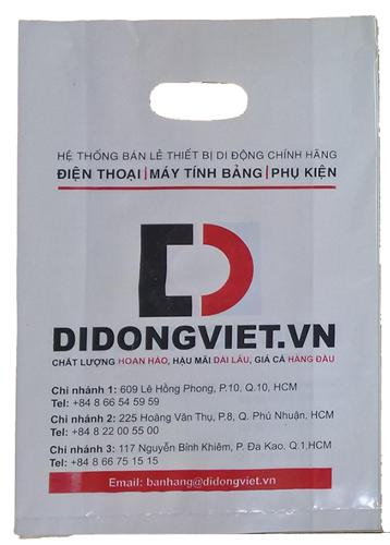 in thiết kế túi nylon HDPE trắng sứ đựng điện thoại